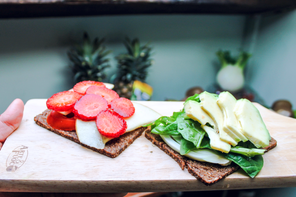 Strawberry + Apple + Tomato on Whole Wheat Fitness Bread / Fennell + Spinach + Avocado on Whole Wheat Fitness Bread.