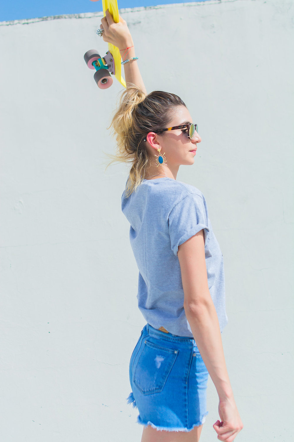 Rayitos de Sol Earrings @theb1rd / Gucci Parody Tee / Adidas Gazelle Sneakers / Valentino Sunnies