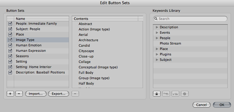 Create and edit keyword button sets