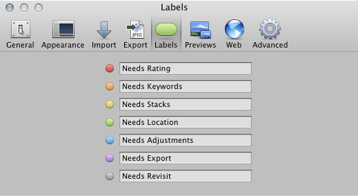 Set the meanings of the color labels in the Aperture Preferences.