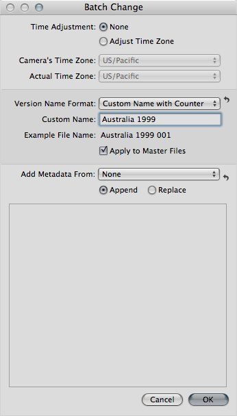 "Check ""Apply to Master Files"" to rename the masters"