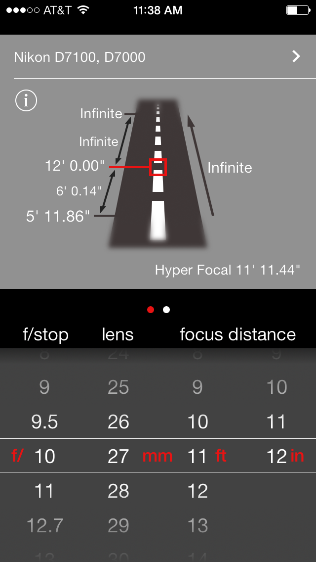B: Hyper focal range based on my f/stop & zoom selection