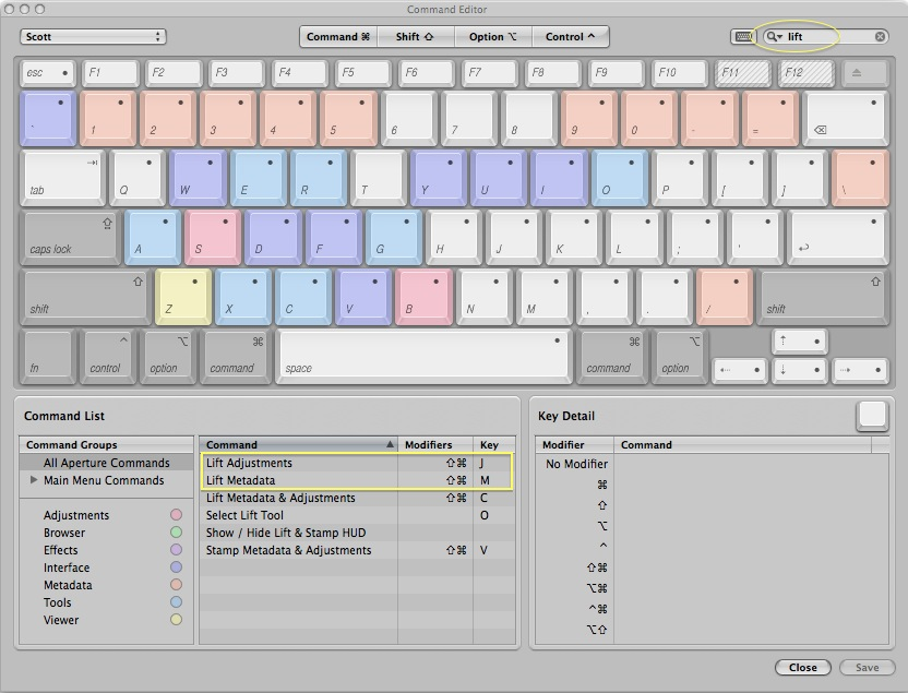 Use Aperture's Command Editor to set keyboard shortcuts for commonly used functions