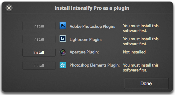 Intensify Pro runs as a plug-in for Aperture, Lightroom and Photoshop