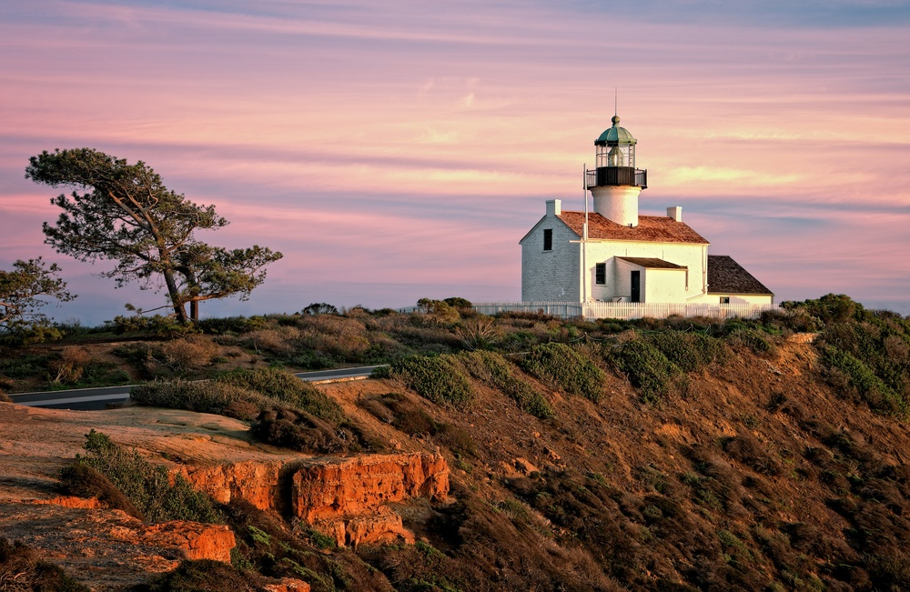 Old Point Loma Lighthouse At Sunset