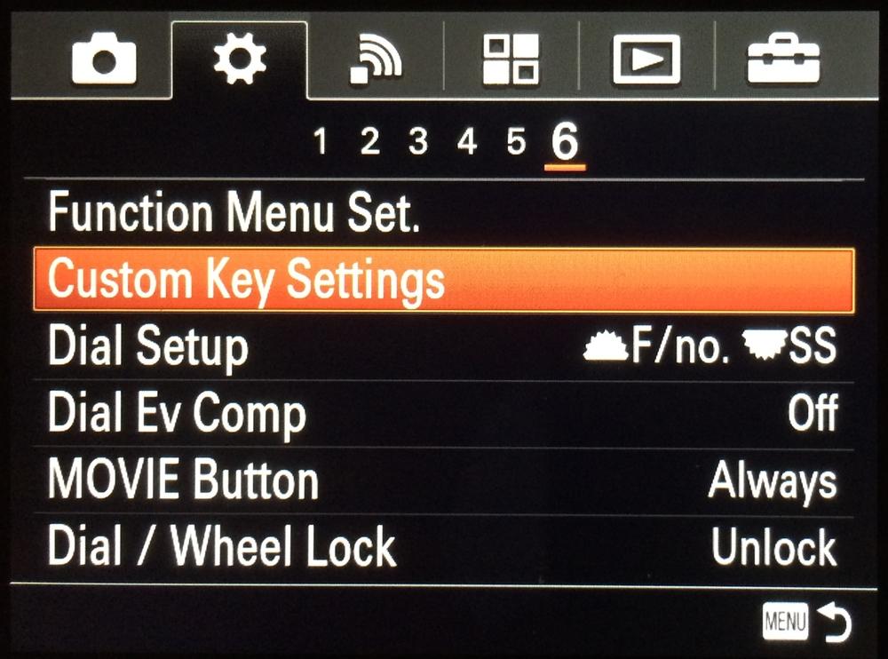 Sony A7R, Settings Menu, Page 6