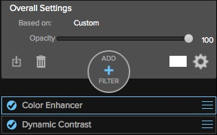 ON1 Photo 10: Rearrange filters in the Filter Stack with drag & drop.