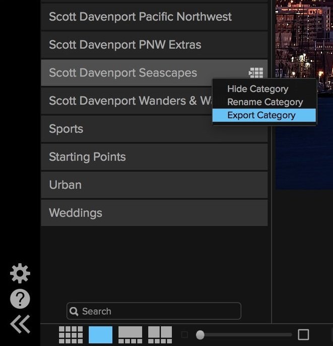 Export a preset category to create your own preset packs.