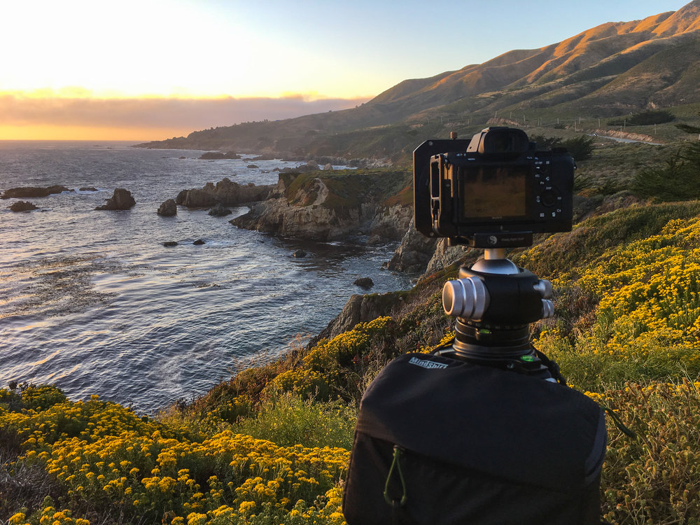 Really Right Stuff Tripod w/ Sony A7Rii on Soberanes Point at sunset, Big Sur, California