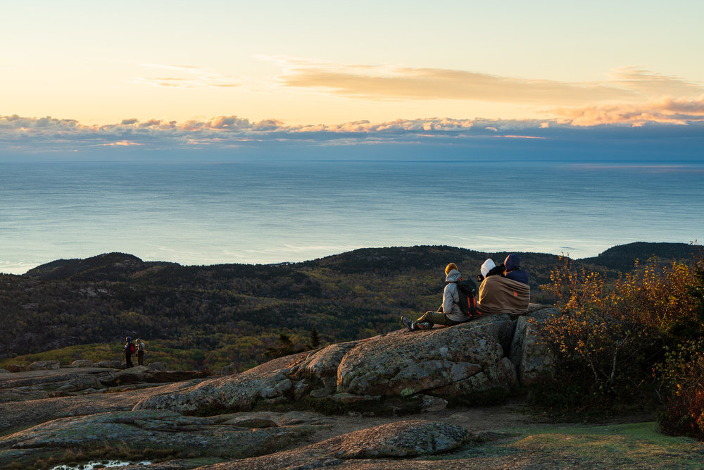 Watching the sun rise on Cadillac Mountain, Acadia National Park