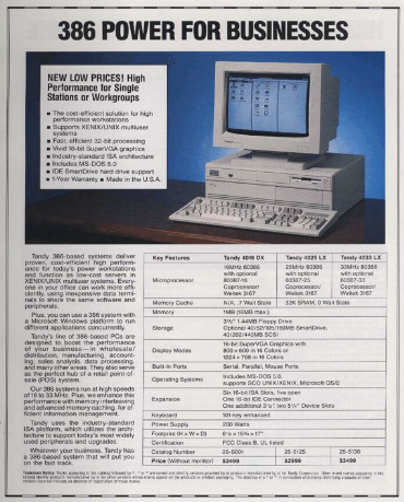 Radio Shack Catalog, 1992.  Tandy 386 Computer $2499 (without Monitor) - via  http://www.radioshackcatalogs.com