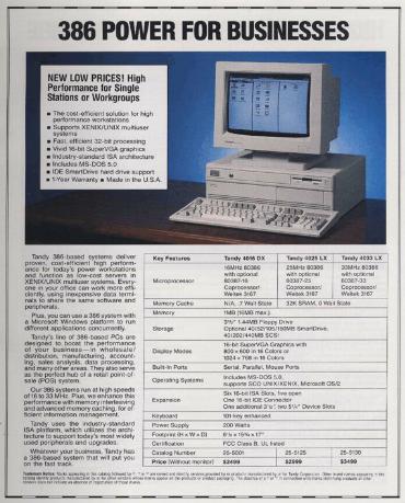 Radio Shack Catalog, 1992. Tandy 386 Computer $2499 (without Monitor) - via http://www.radioshackcatalogs.com