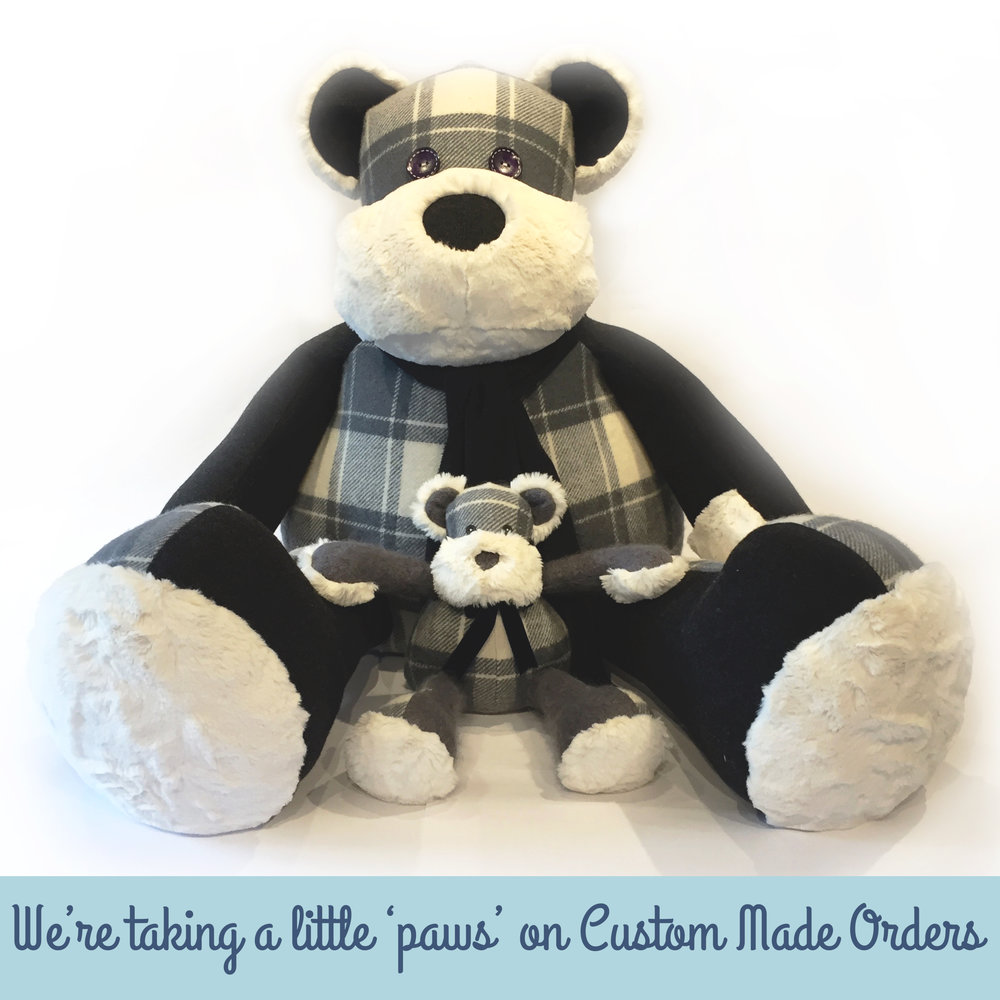 We are currently fully booked for Custom Made Bears for 2017. Caroline our Chief Bear Maker is expecting her first child and as a result we have now reached our capacity for orders for the year. We will keep our Instagram and Facebook pages updated as soon as we can take on new orders @thehamiltonbear. All Order Packs already purchased will of course be honoured.