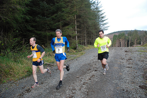 Castlewellan Christmas Cracker, when the race went through the forest. Centre is Gary Keenan (president of Athletics NI)