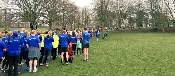 Over 500 runners at Ormeau Parkrun with JogBelfast t-shirts everywhere
