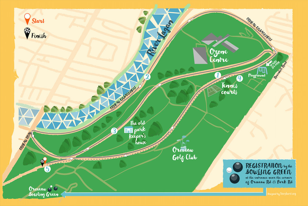 JogBelfast 5K is a new course that takes you in and around Ormeau Park. Note it is different to the Ormeau Parkrun Course