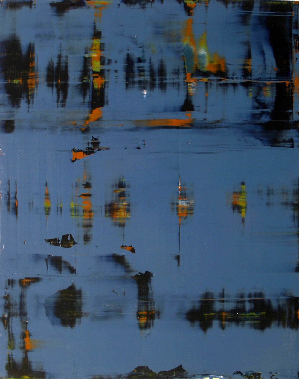"""February 27, 2009, (blue)"" oil on panel, 48"" x 36."""