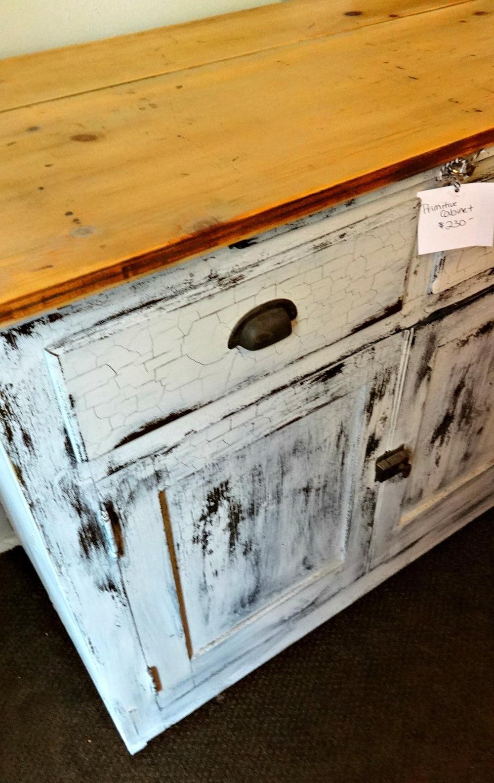 crazed grainsack cabinet