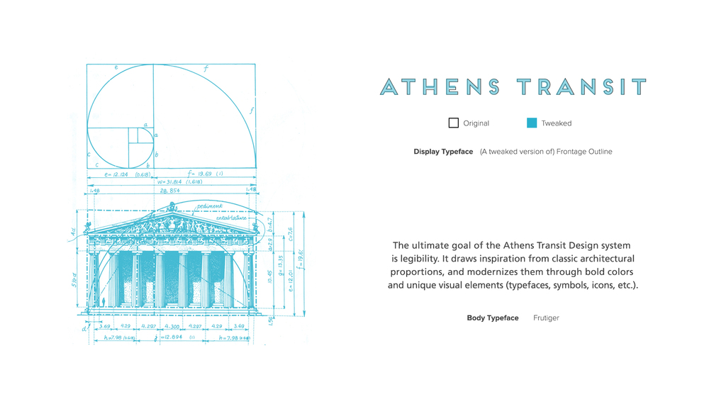 Athens transit design system gabby manotoc design the golden ratio proportion was used in different visual elements the same way ancient greek architects used it as the foundation of classic architecture ccuart Image collections