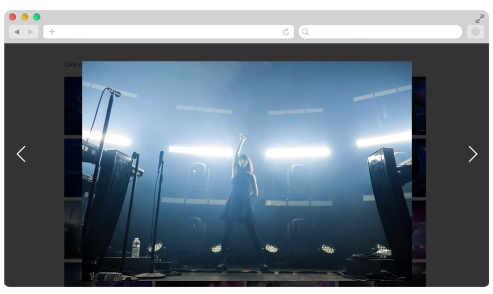 Clicking a thumbnail in the gallery simply opens a large view of the image in a full-screen light box. Users can use their arrow keys or click the arrows on screen to scroll through.