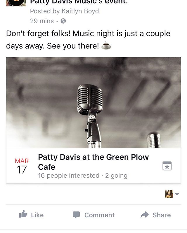 Music night at the Plow! Just a couple days away!