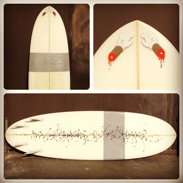 "Bali weapon @joseparla  on bottom ""no Rocas no tiburon"" and @kawsstudio  hanging on the nose  (Taken with  instagram )"