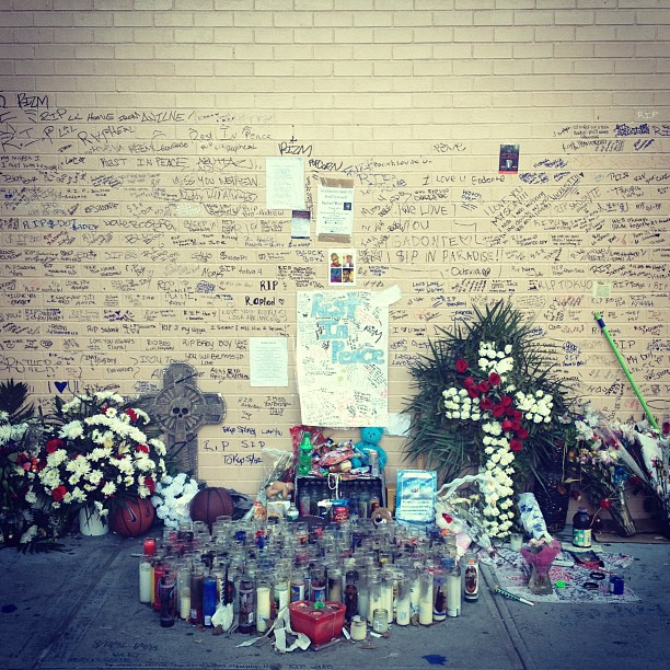 memorial for the first kid in NYC to die this year from gun violence (at Les)
