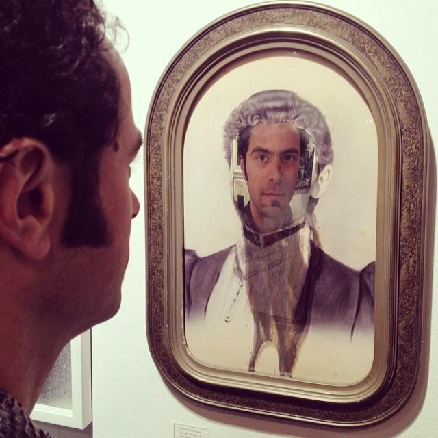 @danielhorowitzstudio 's face in his rad new work (at Scope Art Fair)
