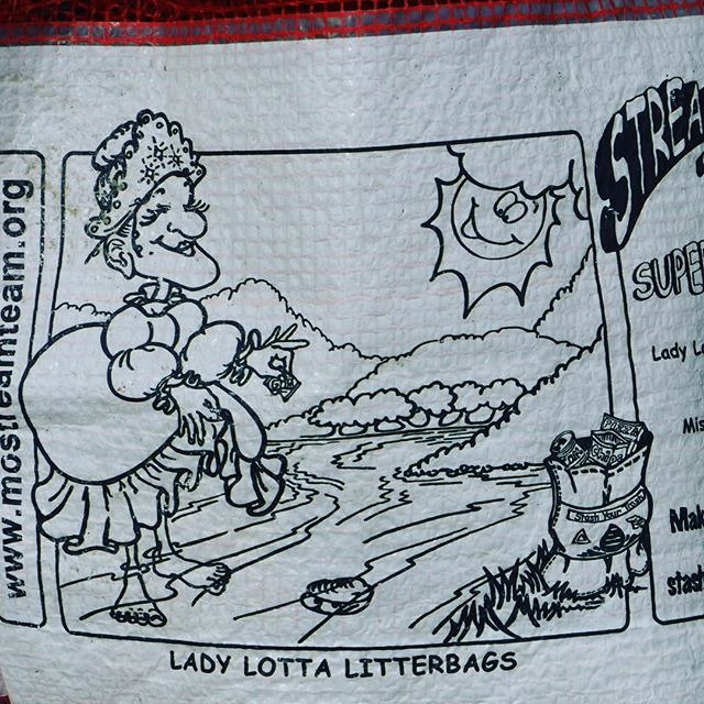 No idea who Lady Lotta Litterbags is, but she seems like she's got it figured out. @mostreamteam @mo_river_relief #rivercleanup #madefromtires