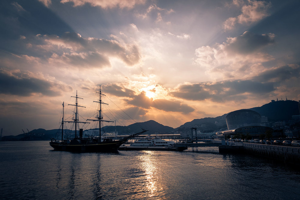 Sunset on Nagasaki harbour.