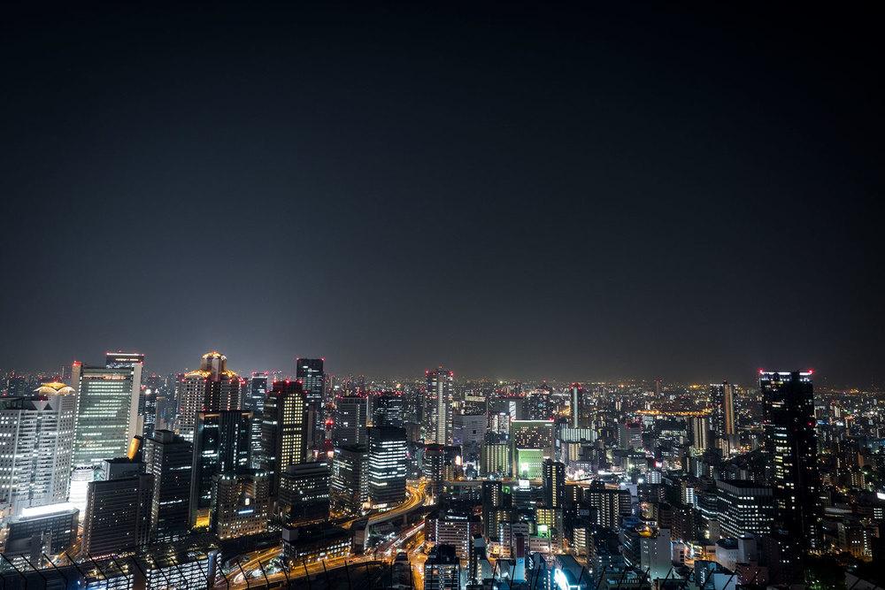 Vista di Osaka dall'Umeda Sky Building