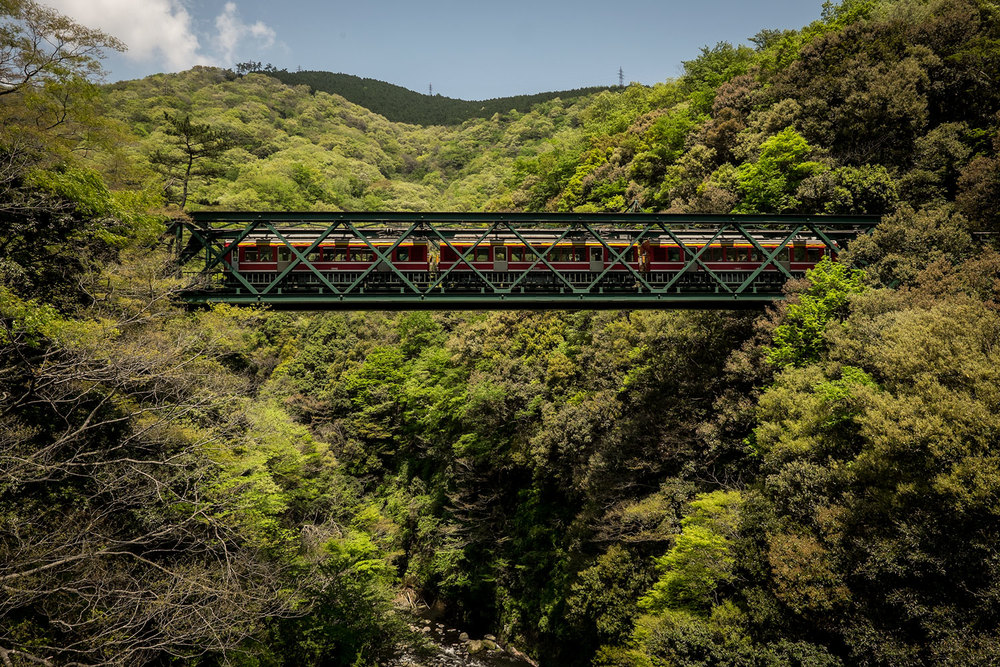 A suspended rail track in the mountains