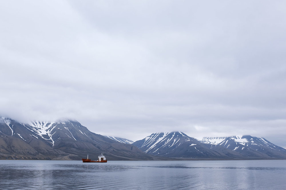 Cargo boats in the Longyearbyen harbour