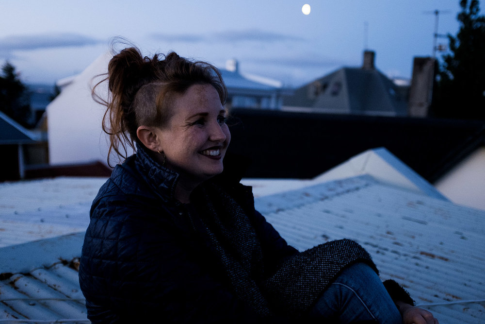 Nanna on her apartment's rooftop.