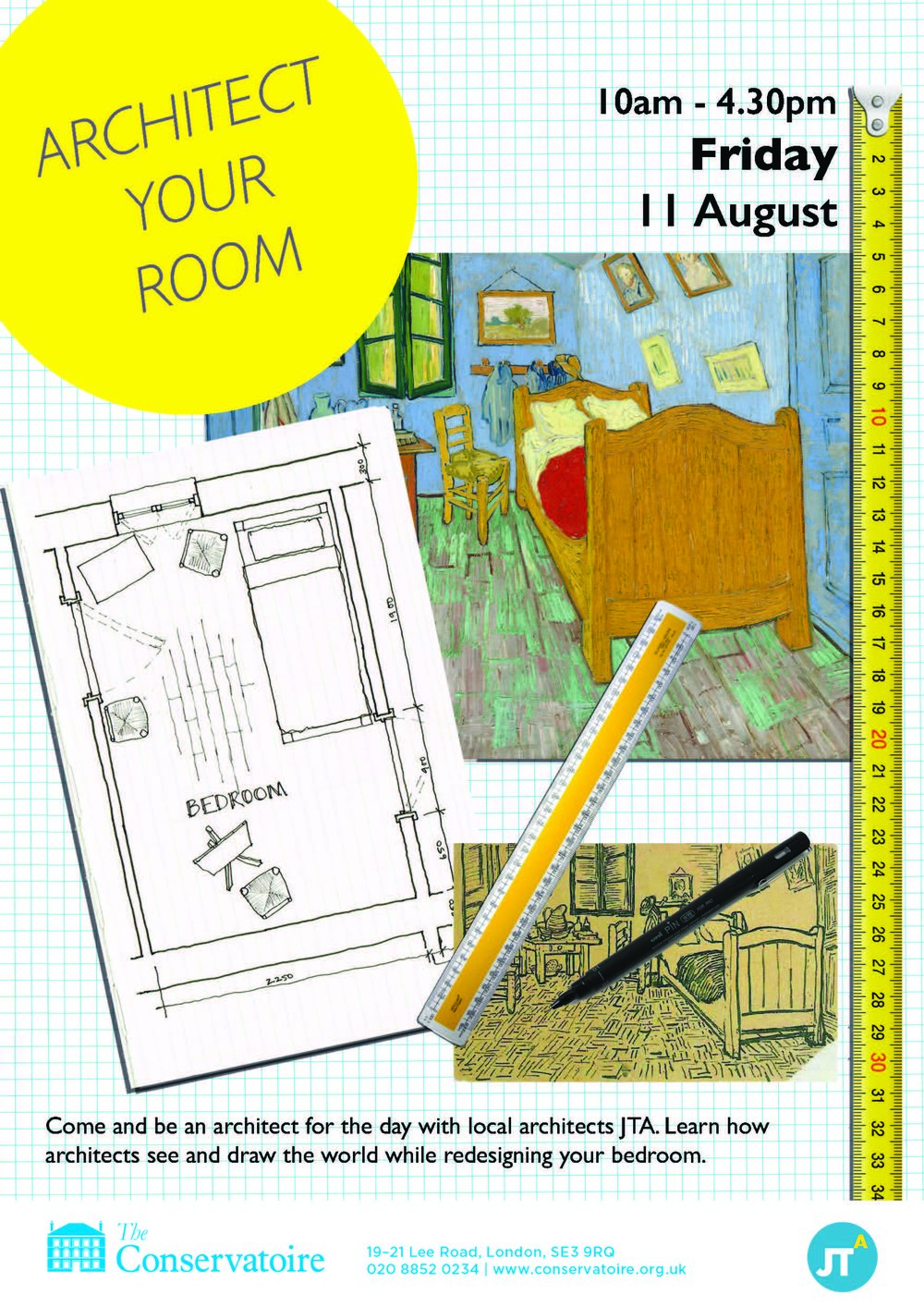 We are holding a workshop for 9 to 14 year olds to come along and try out being an architect! Head over to the Conservatoire in Blackheath on 11th August to learn how to see and draw like an architect while redesigning your bedroom!