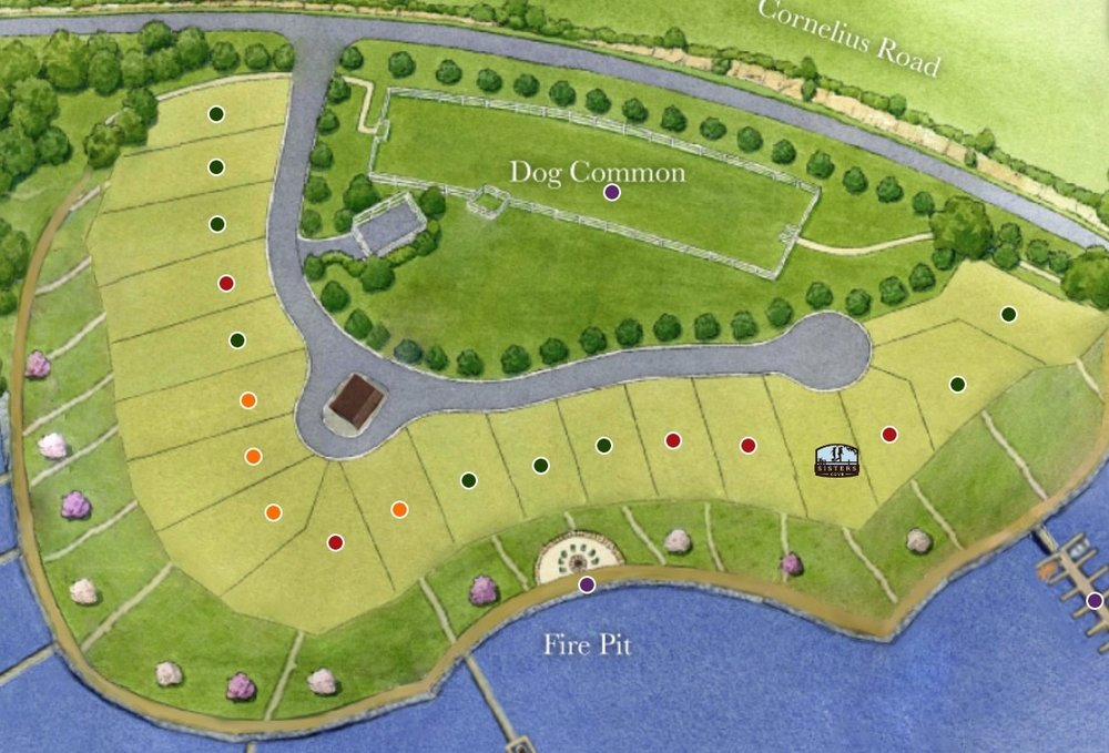 The treatment dispersal area is in the Dog common area in the above picture. More lots on the water plus the septic became a community amenity..