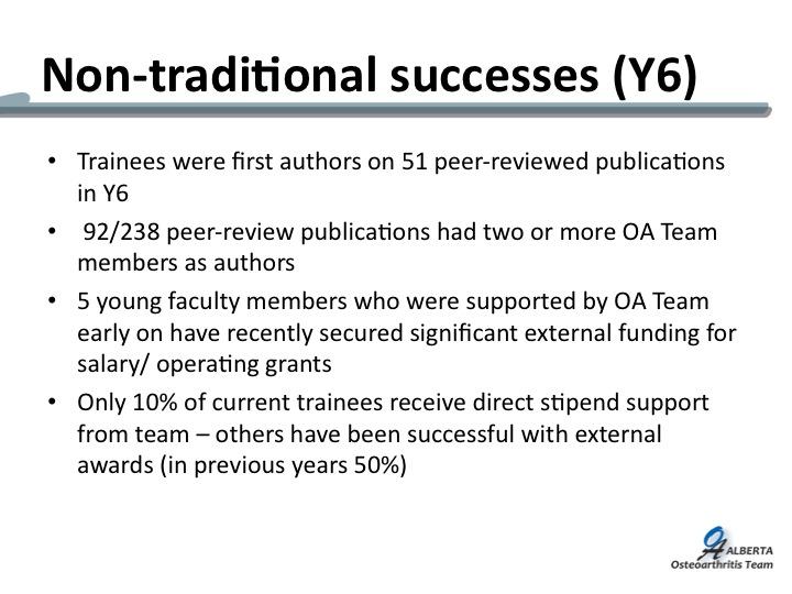 Non-traditional successes OA Team