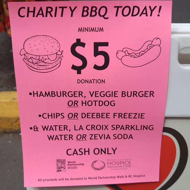 Come out to Heart Pharmacy in the Fairfield plaza today for lunch, help us support World Partnership Walk & BC Hospice! 🍔 . . . . #heartpharmacy #fairfieldplaza #worldpartnershipwalk #wpw #bchospice #westcoastbestcoast #yyj #victoria #bc #vanisle #bbq #charity #donation