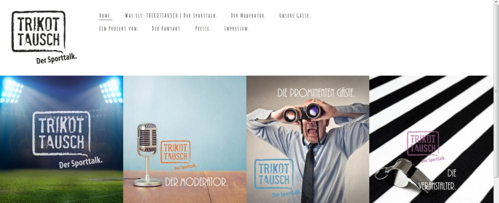 """Webdesign und Erstellung Homepage für Sport-Talk-Event """"Trikottausch""""."""