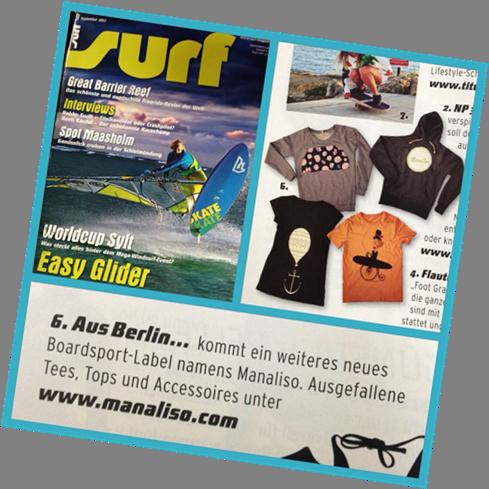"""DAS SURF-Magazin """"surf"""" berichtet aufgrund unserer Pressearbeit über Manaliso"""