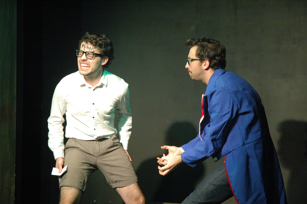 Pen 15 Club  by Jonathan Goldberg and Dan Moyer. Dan Moyer and Grayson DeJesus. Magnet Theatre 2013. Photo by Megan Gray.