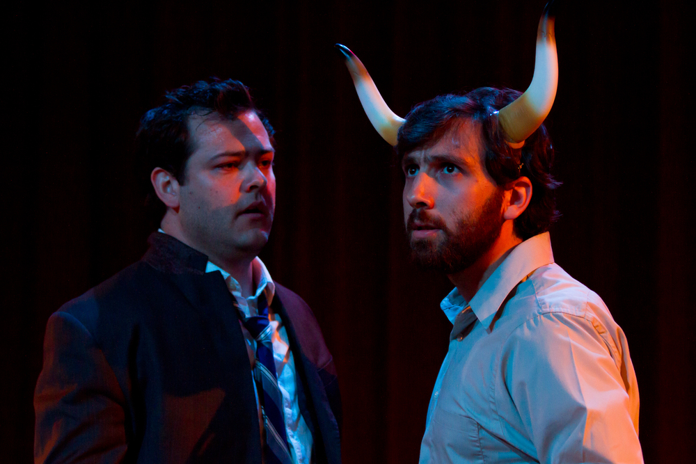 The Monster Closet  by Jonathan Goldberg. Nathaniel Kent and Dan Moyer. Minneapolis Theatre Garage, 2010. Photo by Tony Webster