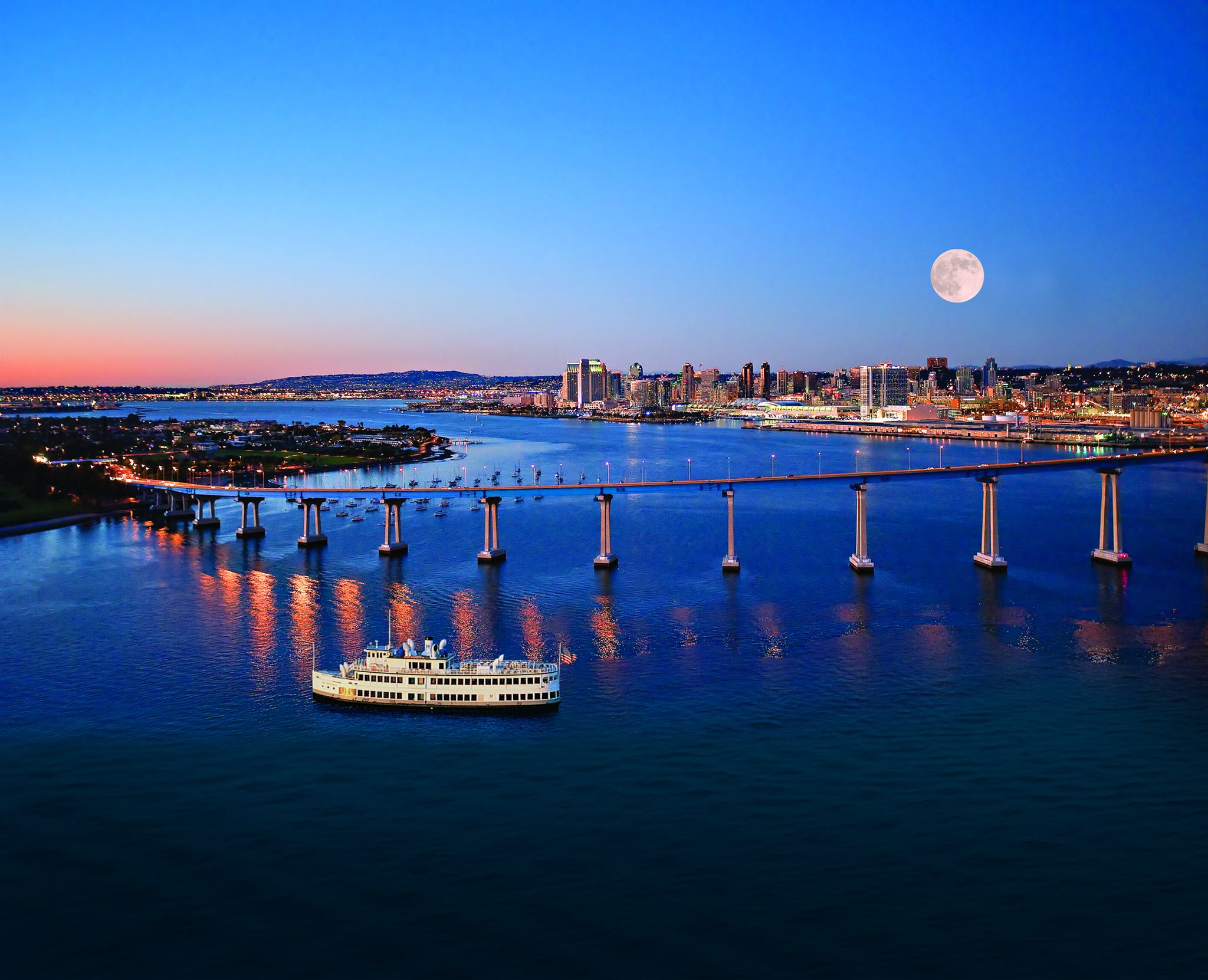 A beautiful Full Moon in San Diego Bay