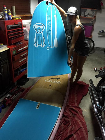Samantha gets her new SeaDek SUP pad