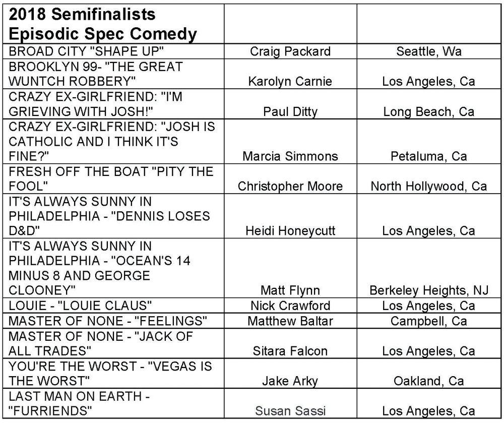 2018 Semifinalist Episodic Spec Comedy.jpg
