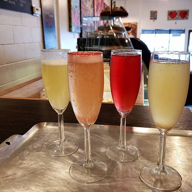~FIRST FRIDAY~  Tonight we are open until 7:30! We have new flavors of Mimosas including: - pear ginger -watermelon rosemary -pomegranate lemon -and jalepeno pineapple All drinks tonight are FIVE DOLLARS That includes beer, wine and champagne drinks!