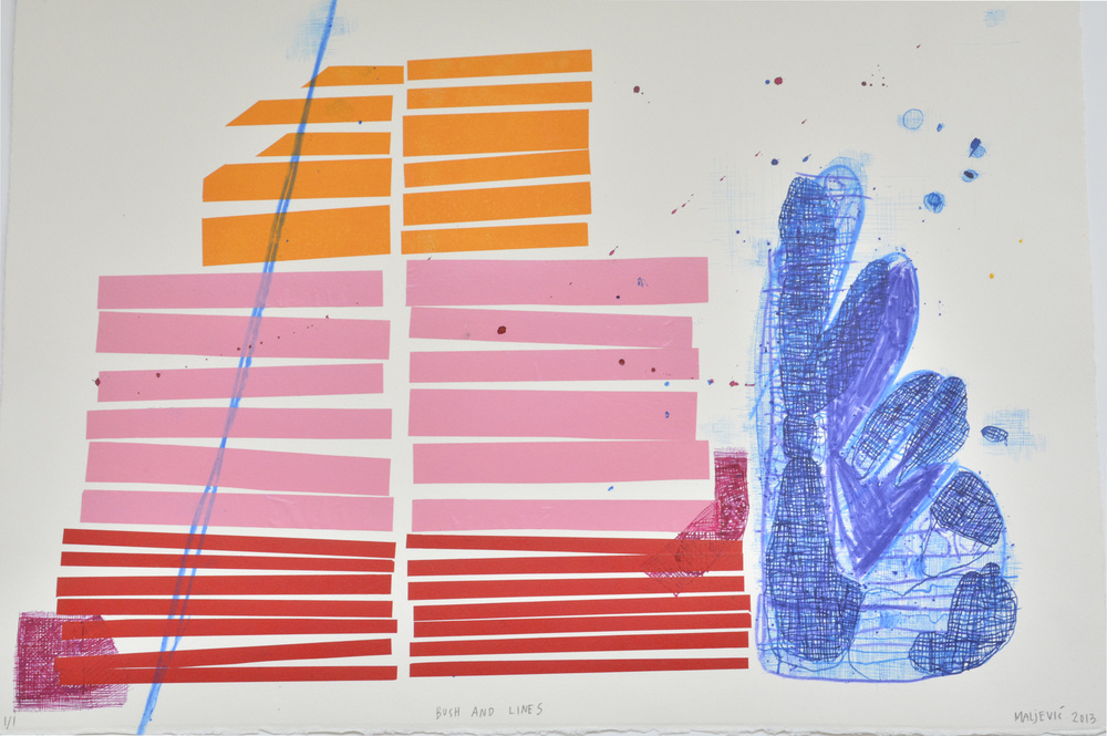 Maja Maljevic Bush with Lines_ MonotypeMonotype with crayon china colle and ink_39 x 56 cm.JPG
