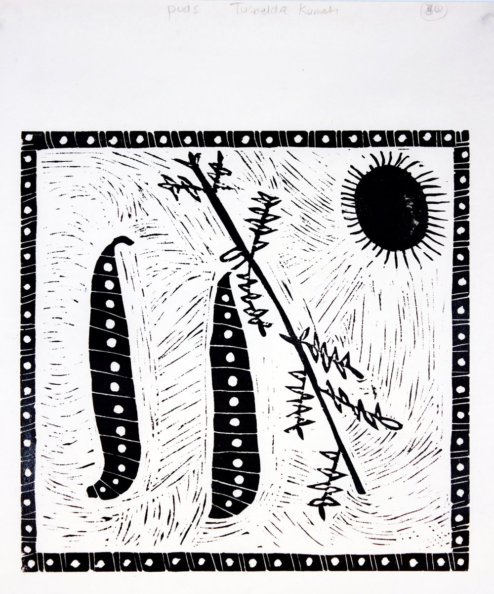 Sun, Seed and Pods, linocut,  350x435