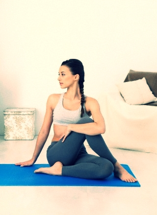 25 Mar 2013 --- Yoga, woman --- Image by � B. Boissonnet/BSIP/Corbis