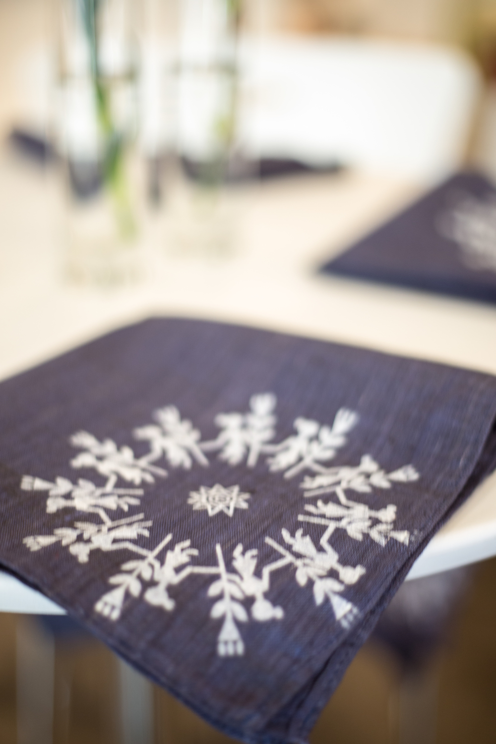 Dinner Napkins: Warli Screen print on Khadi